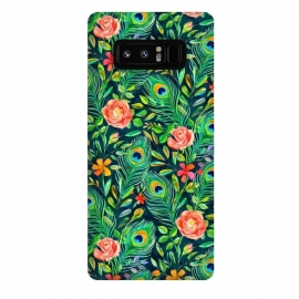 Galaxy Note 8  Peacock Posies on Dark by  (peacock, feather,feathers,painted,pattern,micklyn,roses,floral,boho,bohemian,emerald,green,coral,nature,bird,leaves,botanical)