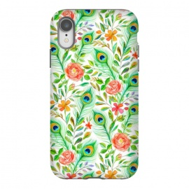 iPhone Xr  Peacock Feather Posies on White by