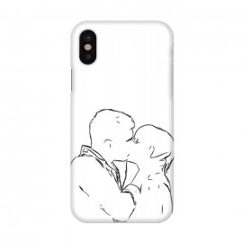 iPhone X  Kiss Minimal Drawing by