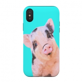 Little Pig Turquoise Background by Alemi