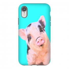iPhone Xr  Little Pig Turquoise Background by
