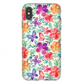 iPhone Xs Max  Summer Blooms & Butterflies on Cream by