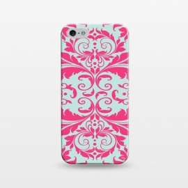 iPhone 5/5E/5s  Pink Baroque by  (pattern,bold,bright,for her,for bff,swirls,baroque,pink,vitage,damask)