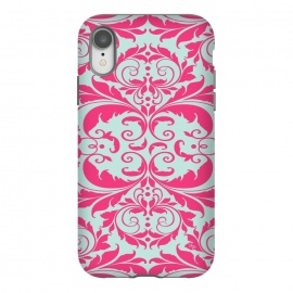 iPhone Xr  Pink Baroque by  (pattern,bold,bright,for her,for bff,swirls,baroque,pink,vitage,damask)