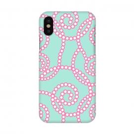 iPhone X  Girly swirls by  (pattern,feminine,modern,stylish,elegant,swirls,colorful,bright,bold,pink,blue,abstract,vintage,geometric)