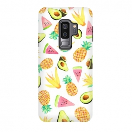 Galaxy S9 plus  Tropical Fruit Salad by  (fruit,salad,fruit pattern,pineapples,avocado,fruits,watermelon,summer,watercolor)