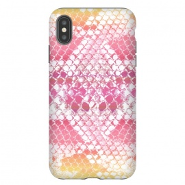 iPhone Xs Max  Pink yellow pastel gradient snake skin by