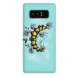 Galaxy Note 8  Crescent Moon Wrapped In Flowers Tattoo Style by