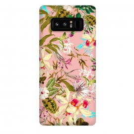 Galaxy Note 8  Gardenia by  (graphic design, floral, nature, botanical, pattern, seamless, repeating, blush, flourish, blossom, bloom, flowers, garden, forest, exotic, jungle, leaves, flora)