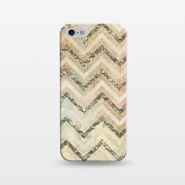 iPhone 5/5E/5s  Chevron Gold Glamour Stripes by