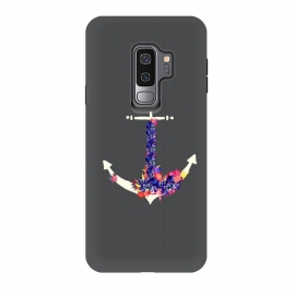 Galaxy S9 plus  Floral Anchor Slate  by  (sea,anchor,ocean,botanical,floral,tropical,nautical)