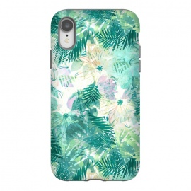 iPhone Xr  Watercolor tropical leaves and flower petals by