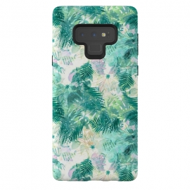 Galaxy Note 9  Tropical leaves and white watercolor flowers by