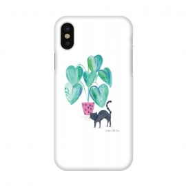 iPhone X  Black cat and house plant painting by