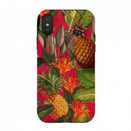 Red Tropical Pineapple Jungle Garden by  Utart