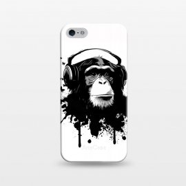 iPhone 5/5E/5s  Monkey Business by Nicklas Gustafsson (monkey,chimp,ape,chimpanzee,animal,butterflies,butterfly,music,headphones,spatter,graffiti)