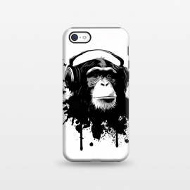 iPhone 5C  Monkey Business by Nicklas Gustafsson (monkey,chimp,ape,chimpanzee,animal,butterflies,butterfly,music,headphones,spatter,graffiti)