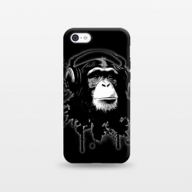 iPhone 5C  Monkey Business - Black by Nicklas Gustafsson (chimp,monkey,chimpanzee,ape,animal,music,headphones,butterflies,butterfly,spatter,graffiti)