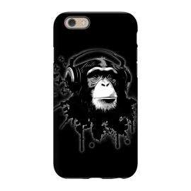 iPhone 6/6s  Monkey Business - Black by Nicklas Gustafsson (chimp,monkey,chimpanzee,ape,animal,music,headphones,butterflies,butterfly,spatter,graffiti)