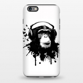 iPhone 6/6s plus  Monkey Business by Nicklas Gustafsson (monkey,chimp,ape,chimpanzee,animal,butterflies,butterfly,music,headphones,spatter,graffiti)