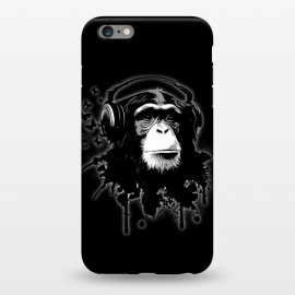 iPhone 6/6s plus  Monkey Business - Black by Nicklas Gustafsson (chimp,monkey,chimpanzee,ape,animal,music,headphones,butterflies,butterfly,spatter,graffiti)