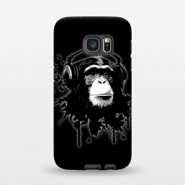 Galaxy S7  Monkey Business - Black by Nicklas Gustafsson (chimp,monkey,chimpanzee,ape,animal,music,headphones,butterflies,butterfly,spatter,graffiti)