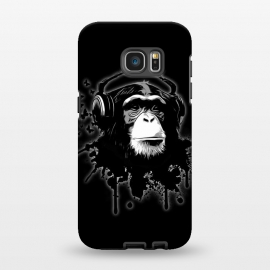 Galaxy S7 EDGE  Monkey Business - Black by Nicklas Gustafsson (chimp,monkey,chimpanzee,ape,animal,music,headphones,butterflies,butterfly,spatter,graffiti)