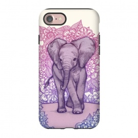 iPhone 8/7  Cute Baby Elephant in pink purple and blue by Micklyn Le Feuvre