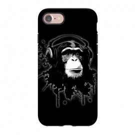 iPhone 8/7  Monkey Business - Black by Nicklas Gustafsson (chimp,monkey,chimpanzee,ape,animal,music,headphones,butterflies,butterfly,spatter,graffiti)