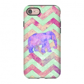 iPhone 8/7  Elephant Mint Green Chevron Pink Watercolor by Girly Trend