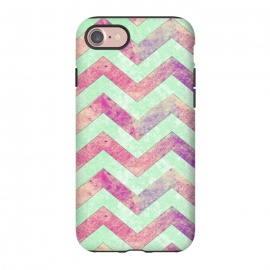 iPhone 8/7  Mint Pink Watercolor Chevron by Girly Trend