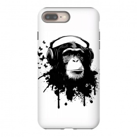 iPhone 8/7 plus  Monkey Business by Nicklas Gustafsson (monkey,chimp,ape,chimpanzee,animal,butterflies,butterfly,music,headphones,spatter,graffiti)