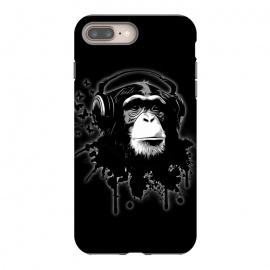 iPhone 8/7 plus  Monkey Business - Black by Nicklas Gustafsson (chimp,monkey,chimpanzee,ape,animal,music,headphones,butterflies,butterfly,spatter,graffiti)