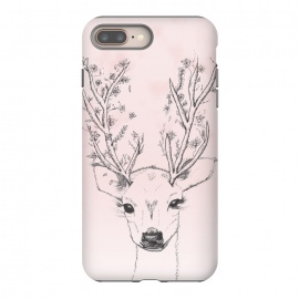 iPhone 8/7 plus  Cute Handdrawn Floral Deer Antlers Pink by Girly Trend